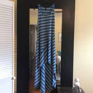 Blue and Gray Maxi Dress